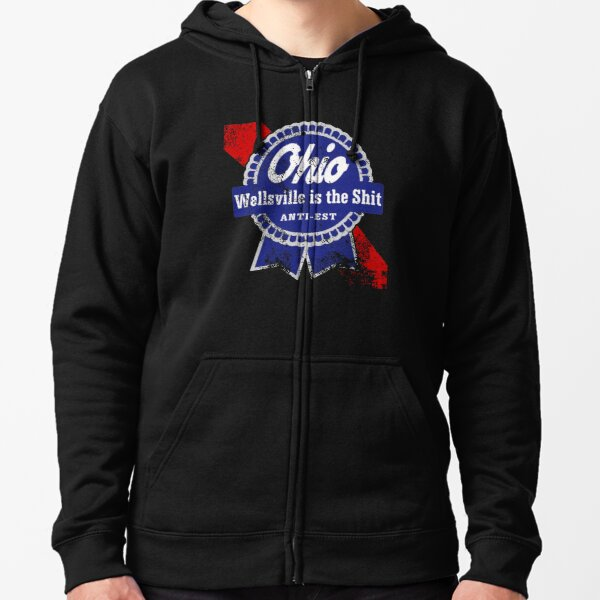 Distressed Wellsville is the Shit Zipped Hoodie