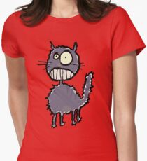 the cat is easily scared Womens Fitted T-Shirt