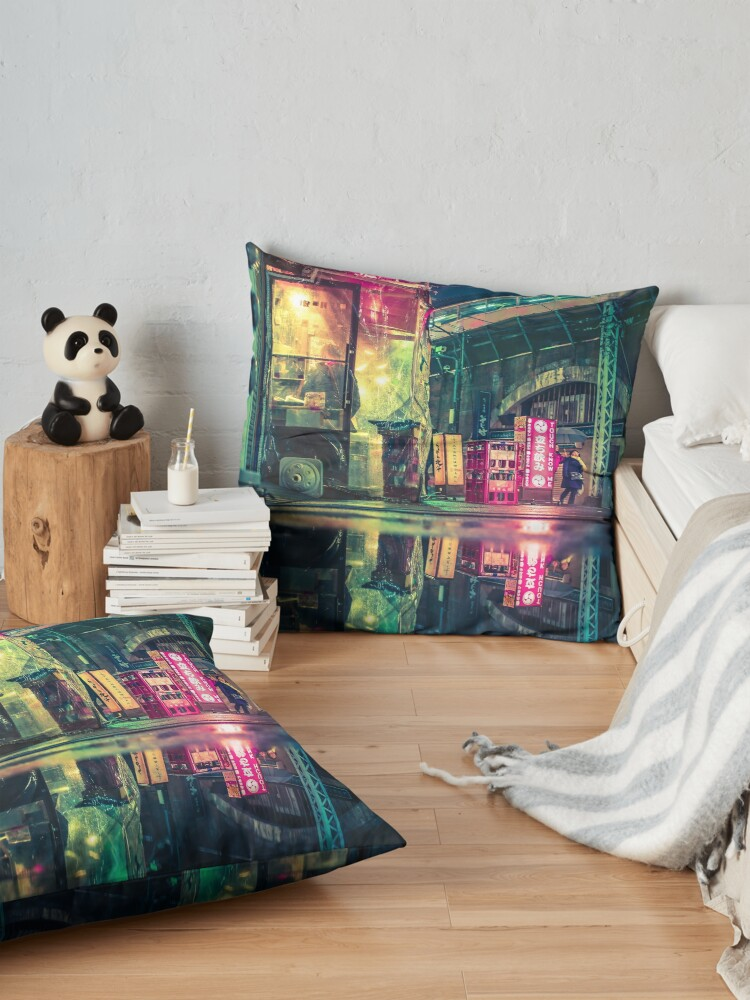 Alternate view of Reflection of Neo-Tokyo Floor Pillow