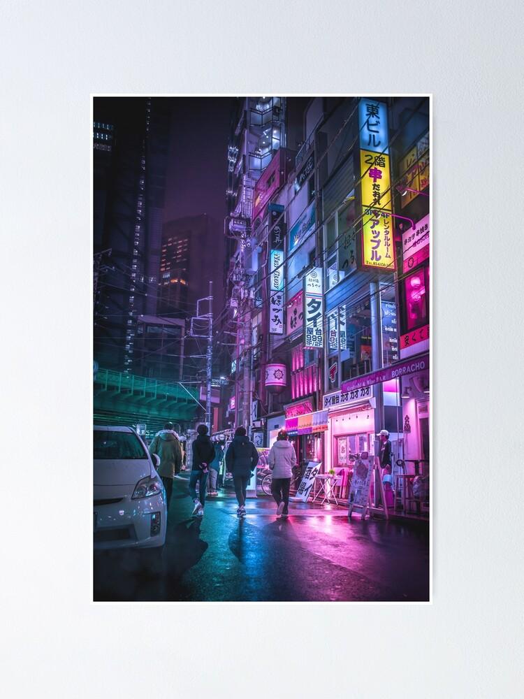 Alternate view of Cyberpunk Aesthetic in Tokyo Japan Poster