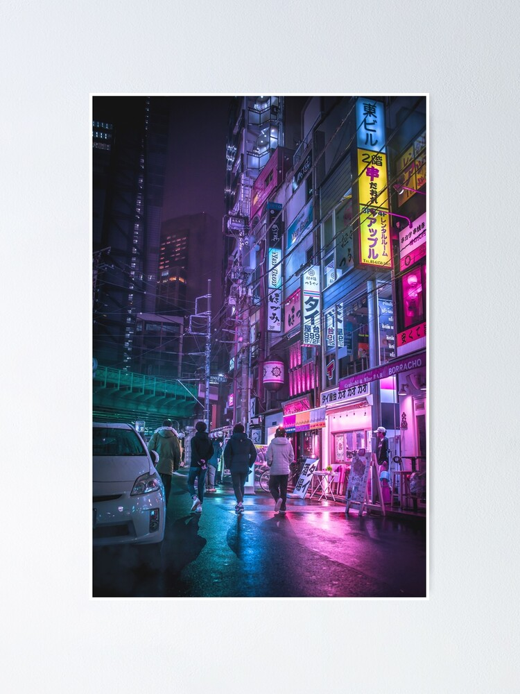 Alternate view of Cyberpunk Aesthetic in Tokyo Japan Poster