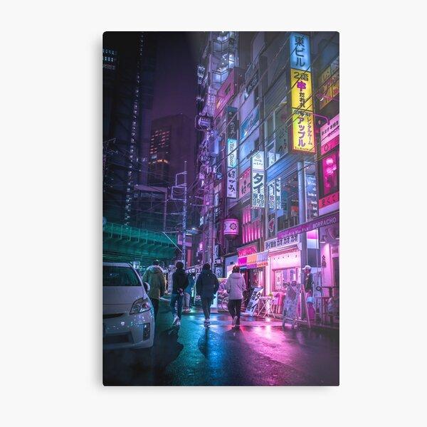 Cyberpunk Aesthetic in Tokyo Japan Metal Print