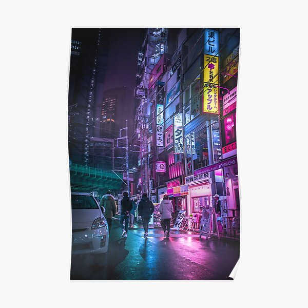 Cyberpunk Anime Aesthetic in Tokyo Japan Poster