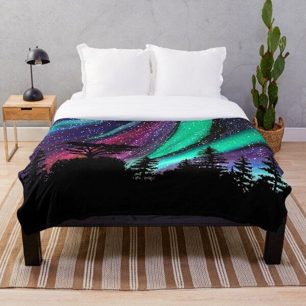 """Alaskan Aurora"" Aurora Borealis Northern Lights Throw Blanket"