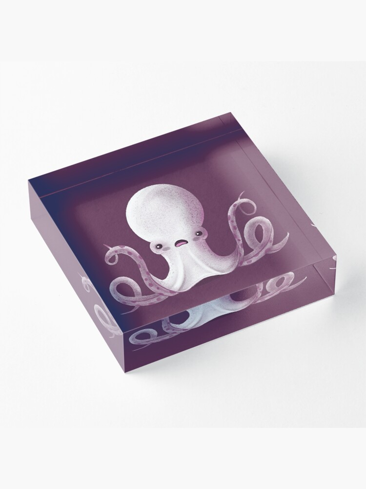 Alternate view of Ghostly Octopus Acrylic Block