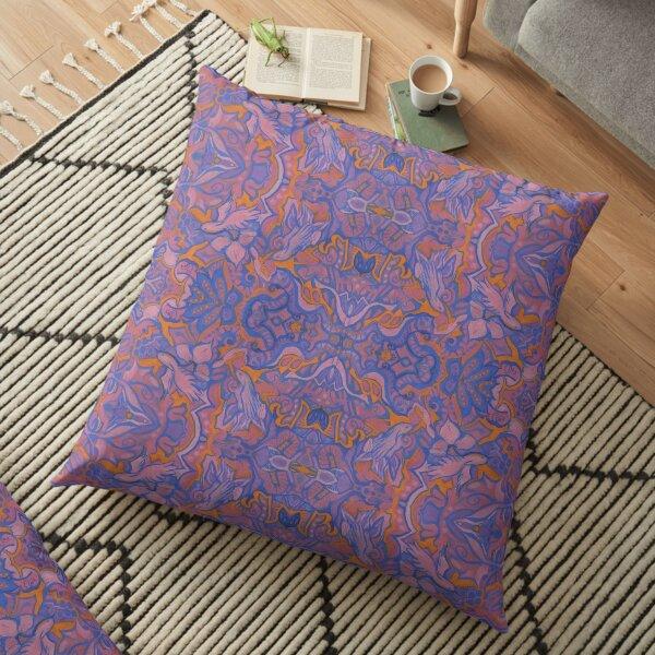 Birds Arabesque, Bohemian Pattern, Pink Blue Orange Floor Pillow
