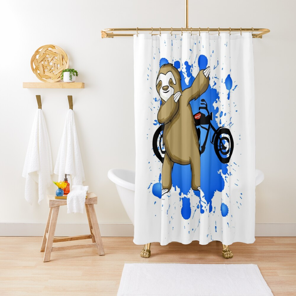 Sloth and Motorbike Shower Curtain