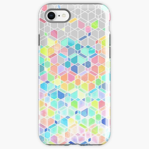 Rainbow Cubes & Diamonds iPhone Tough Case