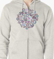 Kaleidoscope Crystals - Grey  Zipped Hoodie