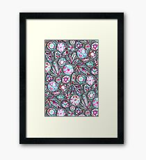 Kaleidoscope Crystals - Grey  Framed Print