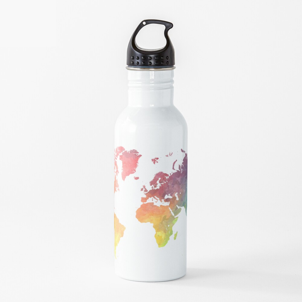 Map of the world colored Water Bottle