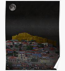 Molyvos II Lesvos Greece Moonlight Poster
