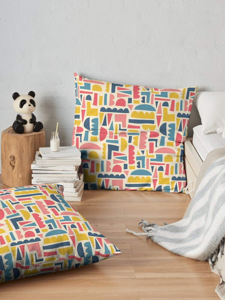 Alternate view of Kids Shapes Collage Blue Pink Yellow Floor Pillow