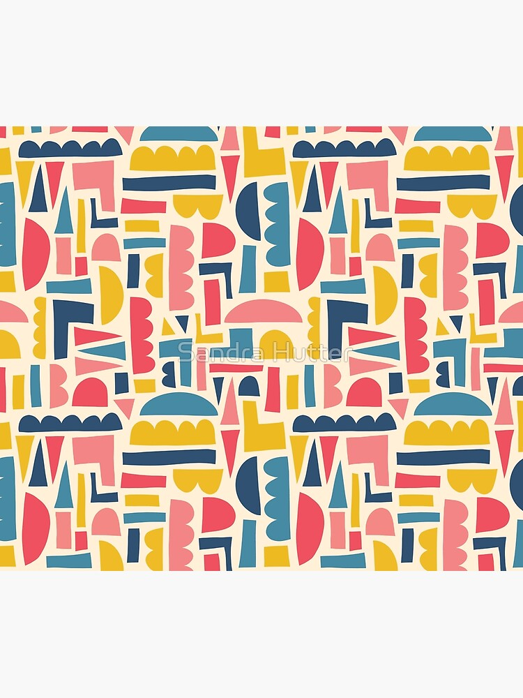 Kids Shapes Collage Blue Pink Yellow by SandraHutter