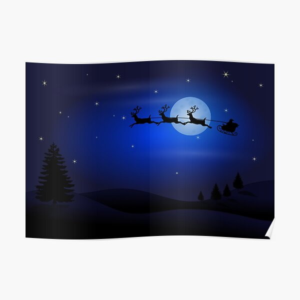 Santa Claus flying in a sleigh pulled by reindeer. Poster