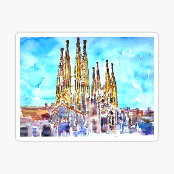 Sagrada Famila in Barcelona with Blue Sky Sticker