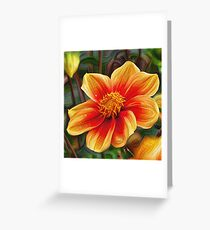 Orange Flower 001, DeepDream style Greeting Card