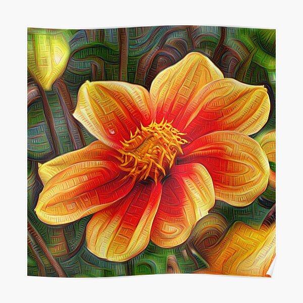 Orange Flower 001, DeepDream style Poster