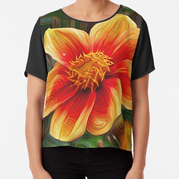 Orange Flower 001, DeepDream style Chiffon Top