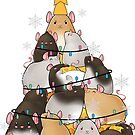 Cute Kawaii Rat Christmas Tree Huddle by leeseylee