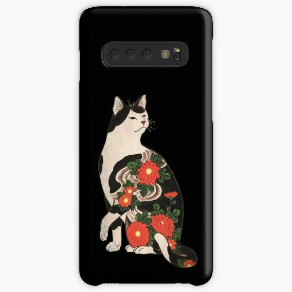 Antique Japanese Woodblock Print Cat with Flower Tattoos Samsung Galaxy Snap Case