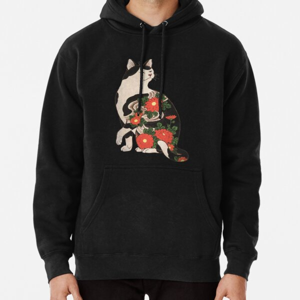 Antique Japanese Woodblock Print Cat with Flower Tattoos Pullover Hoodie