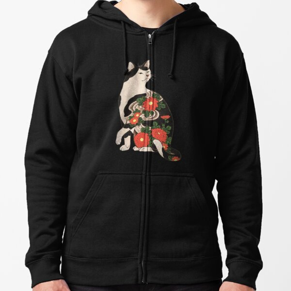 Antique Japanese Woodblock Print Cat with Flower Tattoos Zipped Hoodie
