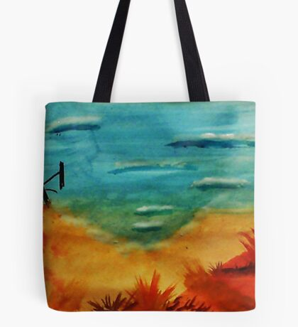 I found a restul spot to view the ocean, watercolor Tote Bag