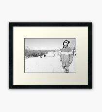 Snow and Sleds Framed Print