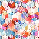 Coral, Cream and Cobalt Kaleidoscope Cubes by micklyn