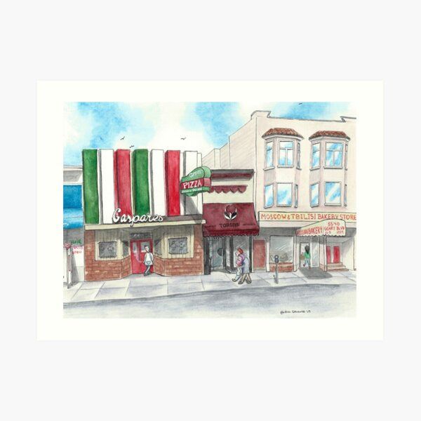 """A Stroll Along Geary"" by Robin Galante Art Print"