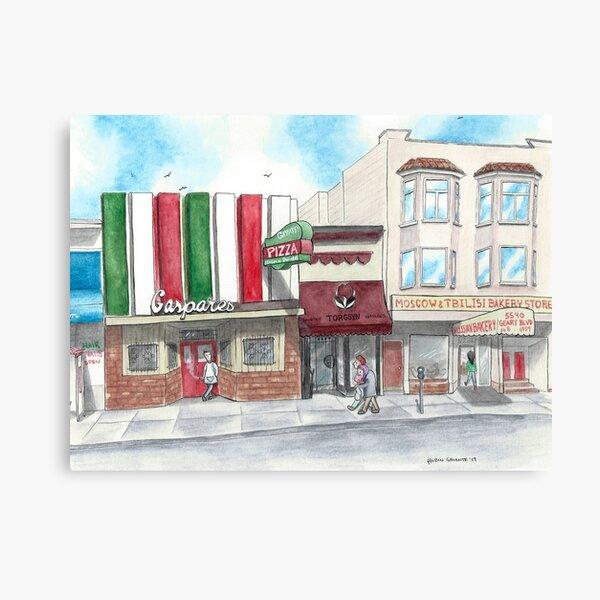"""A Stroll Along Geary"" by Robin Galante Canvas Print"