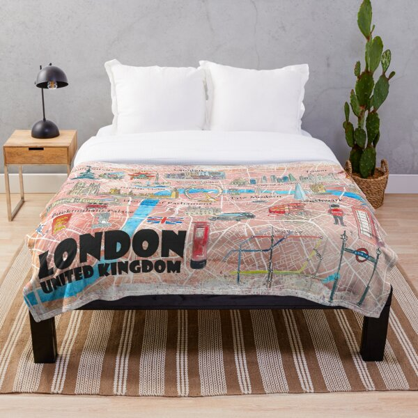 London UK Illustrated Map with Main Roads, Landmarks & Highlights Throw Blanket