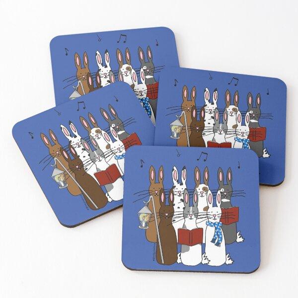 Bunny Christmas Carolers Coasters (Set of 4)