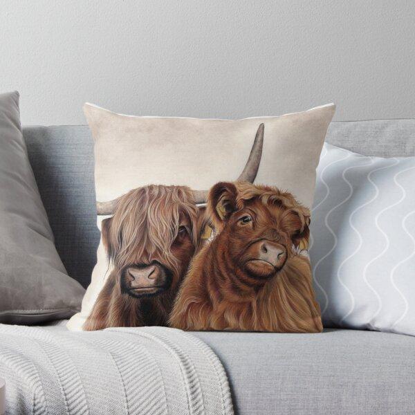 Heilan'Coos - Scottish Highland Cattle Throw Pillow