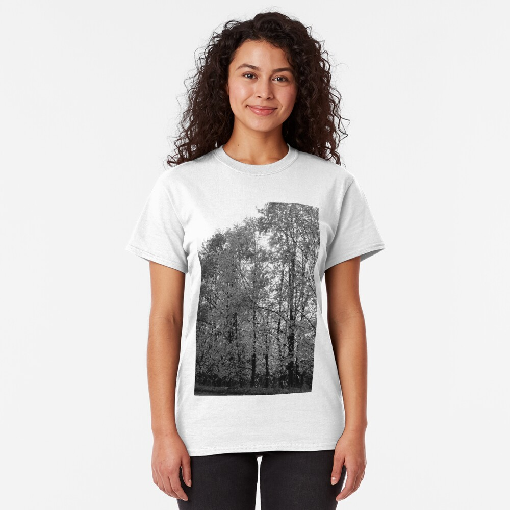 Autumn Trees in Black and White Classic T-Shirt