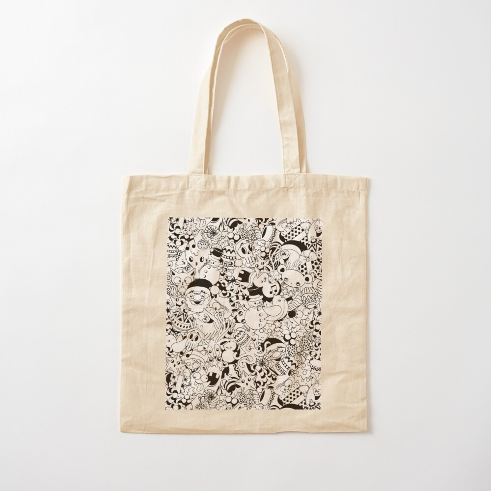 Christmas Doodles Funny and Cute Black and White Characters Cotton Tote Bag