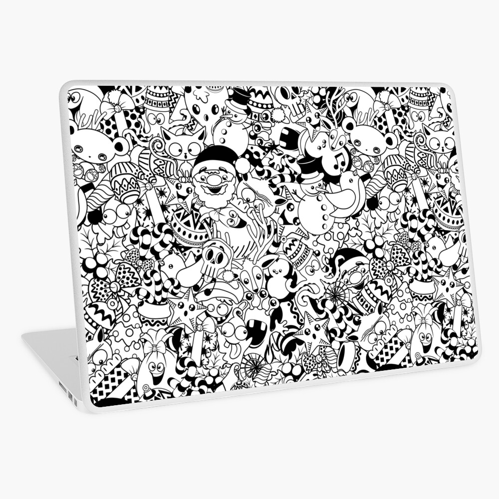 Christmas Doodles Funny and Cute Black and White Characters Laptop Skin