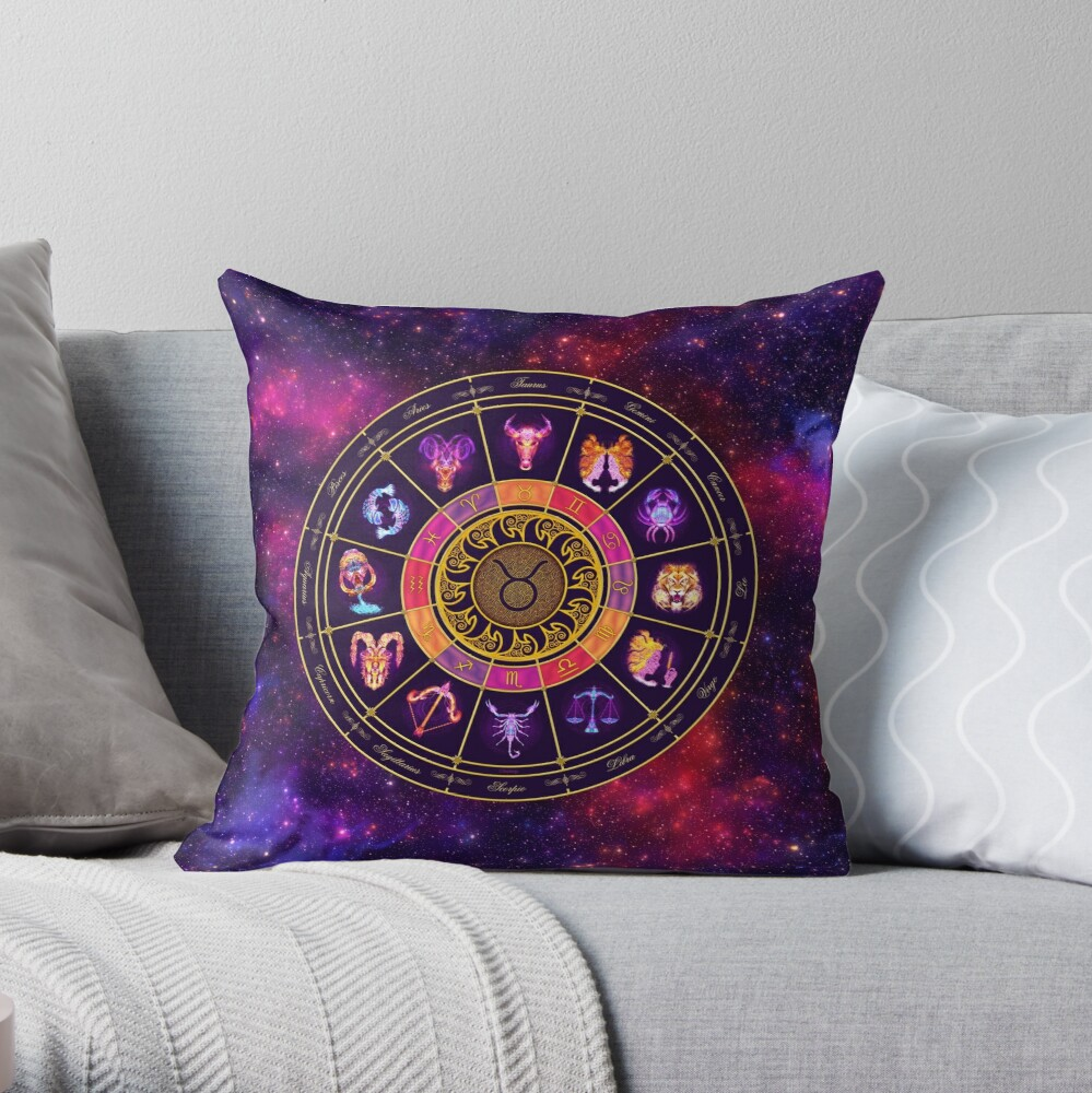 Taurus Zodiac Lightburst - Circle Throw Pillow