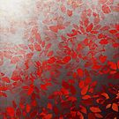 FLORAL WASH - RED Colorful Flowers Ombre Deep Crimson Scarlet Ruby Black Abstract Painting by EbiEmporium