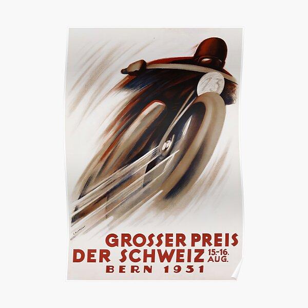 Art Deco annonce moto suisse sport automobile Poster