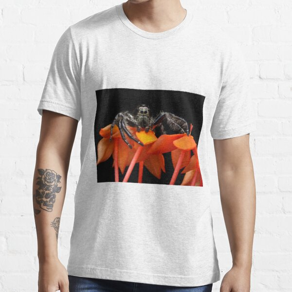 Jumping spider macro Hyllus On Flowers Essential T-Shirt