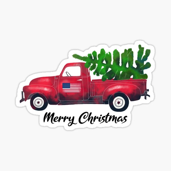 Vintage Watercolor Red Truck Carrying Xmas Tree Merry Christmas Sticker