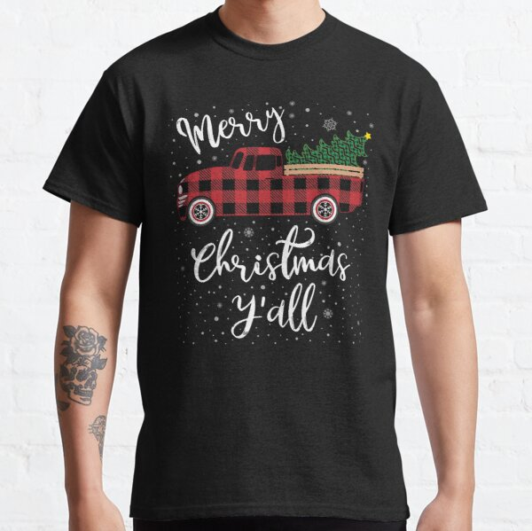 Vintage Buffalo Plaid Red Truck Merry Christmas Y'all Classic T-Shirt