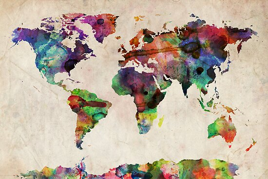 World Map Urban Watercolor by Michael Tompsett