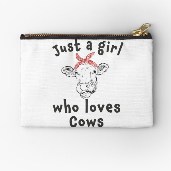 Cute Just a girl who loves cows Zipper Pouch