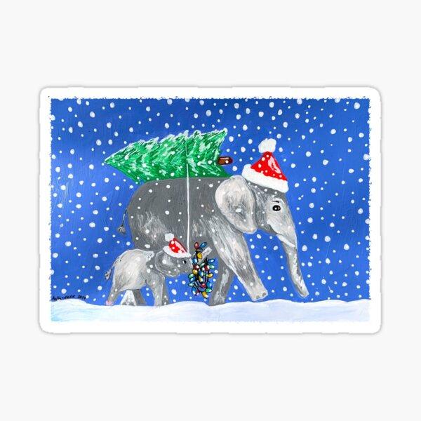 Holiday Elephants Sticker