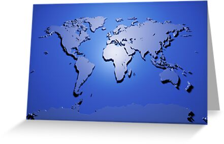 World Map in Blue by Michael Tompsett
