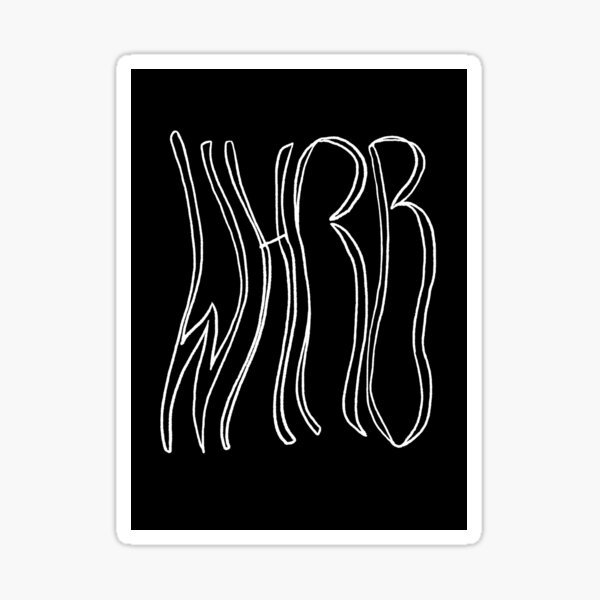Wavy WHRB White on Black Sticker