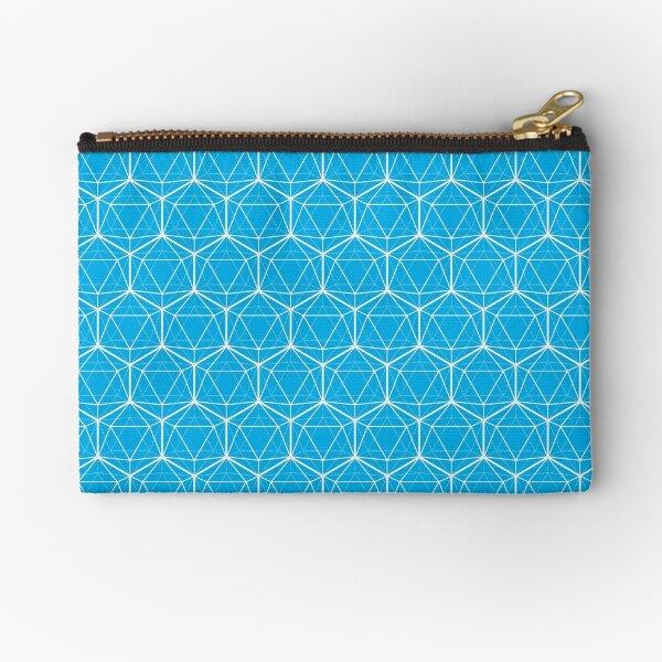 Icosahedron White on Bright Blue Zipper Pouch